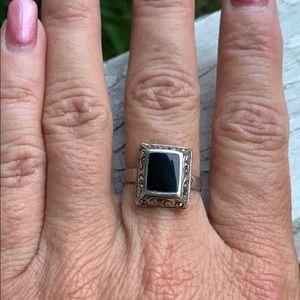 Vintage Sterling Silver Black Onyx Ring